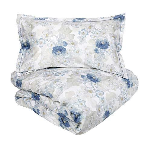 Fazzini - Funda nórdica de matrimonio Allure azul satinado de algodón - No incluye sábana inferior