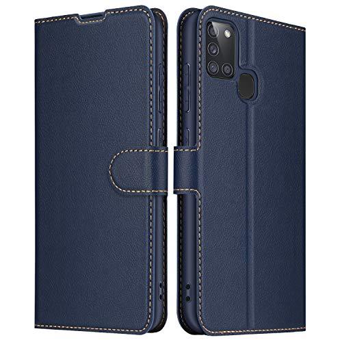 ELESNOW Hülle für Samsung Galaxy A21s, Leder Klappbar Wallet Schutzhülle Tasche Handyhülle mit [ Magnetisch, Kartenfach, Standfunktion ] für Samsung Galaxy A21s (Blau)