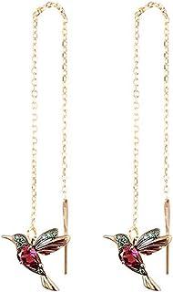 Meimimix Hummingbird Bird Tassel Chain Earrings Ear Stud Threader Long Crystal Rhinestone Drop Dangle Women Ladies Jewelry