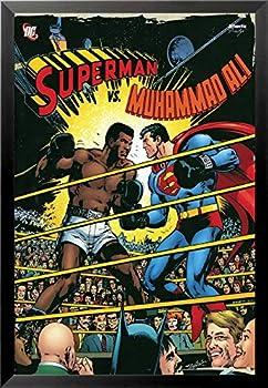 Buyartforless FRAMED Superman vs Muhammad Ali Boxing 36x24 Comic Art Print Poster red black white yellow, blue