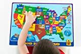 UNCLE WU United State Map Kids Educational Placemat / Post USA Map on Wall -16 x 12 inch Waterproof Placemat
