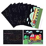 MELLIEX Kratzbilder für Kinder, Kratzpapier Set, 10 Blätter Regenbogen Kratzpapier Basteln zum Kratzen & DIY Färben(Autos)