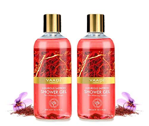 Shower Gel - Sulfate-Free - Herbal Body Wash both for Men and Women - 300 ml (10.14 fl oz) - Vaadi Herbals (Luxurious Saffron) (2 Bottles)