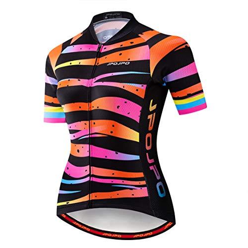 Weimostar - Maglia da ciclismo da donna, con chiusura lampo, per mountain bike, a maniche corte, Pro Team Racing MTB, top per donna, taglia M