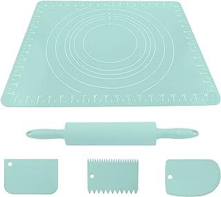 Rouleau à pâtisserie Set de cuisson à la goupille de rouleau avec placez le tapis de plaque de silicone de plaquette de si...