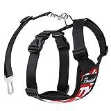 Pawaboo Cinturón De Seguridad de Perro - Adjustable Vest/Harness Car Safety Adecuado para Perros de 55 LBS - 88 LBS, Talla XL, Rojo & Blanco