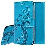 Handyhülle für Galaxy M51 Hülle,Galaxy M51 Lederhülle Handytasche,Katze Baum Muster Flip Hülle Wallet Tasche Brieftasche Klapphülle Tasche Leder Schutzhülle für Galaxy M51,Blau