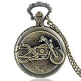 HELBOD Montre de Poche Montre à Quartz avec Motif de motocyclettes, Couleur Bronze, avec Collier, Montre à Quartz, Bronze