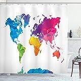 ABAKUHAUS Karte Duschvorhang, Low Poly Art Regenbogenfarbe, mit 12 Ringe Set Wasserdicht Stielvoll Modern Farbfest & Schimmel Resistent, 175x180 cm, Mehrfarbig