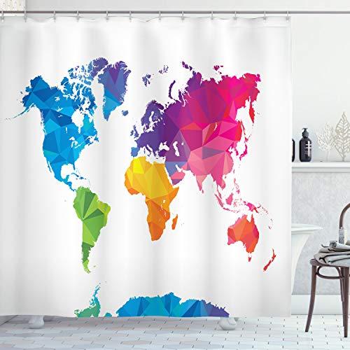 ABAKUHAUS Karte Duschvorhang, Low Poly Art Regenbogenfarbe, mit 12 Ringe Set Wasserdicht Stielvoll Modern Farbfest & Schimmel Resistent, 175x200 cm, Mehrfarbig