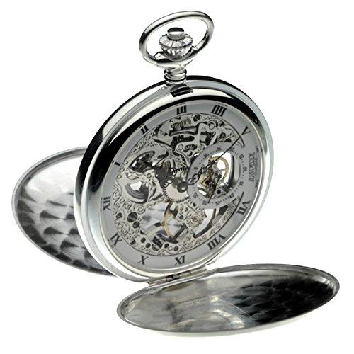 Jean Pierre Reloj de bolsillo y cadena de plata de ley con doble cazador. LWF_G146