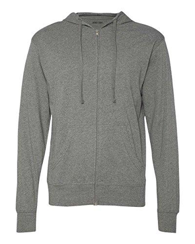 Joe's USA(tm - Lightweight Jersey Hooded Full-Zip T-Shirt-Hoodie-Gunmetal-L