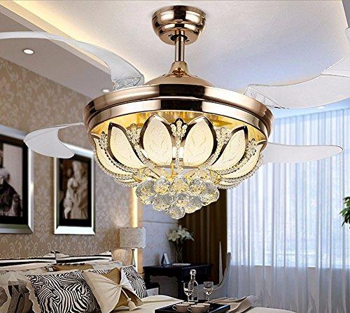 SDKKY Invisible pegamento transparente, estilo europeo tulipa de lotus, invisible LED lámpara ventilador