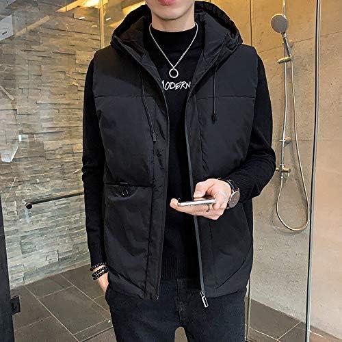 LYLY Vest Women Vest Men Solid Winter Jacket Warm Men's Outerwear Waistcoat Casual Vests Hooded Jacket Man Sleeveless Jackets Vest Warm (Color : Black, Size : Asian Size M)