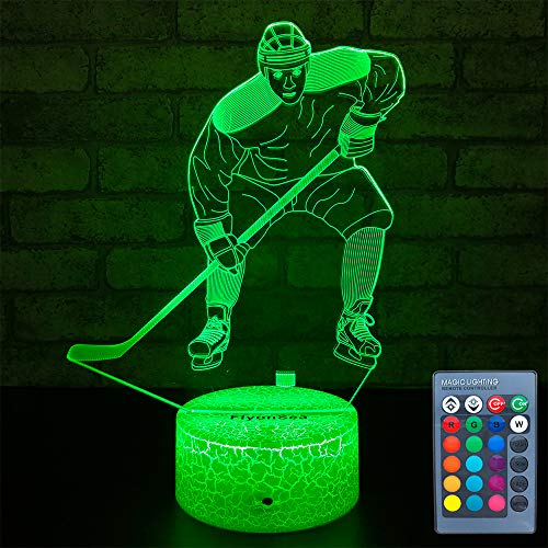 FlyonSea Kids Ice Hockey Gifts,Ice Hockey Toys 16 Color Changing Kids Night Light with Touch and Remote Control, Mens Ice Hockey Decor Light Birthday Christmas Gifts for Kids Boys Baby