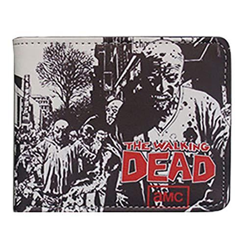 The Walking Dead Cartera de Hombre Mujer Anime PU Wallet RFID Monedero Bolsillos Tarjetas de Crédito, Billetes, ID Ranura para Tarjeta, Compartimento, Purse Billetera Zip Transparente