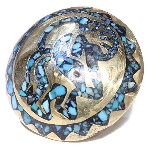 コンチョ ホピデザイン ターコイズ ココペリ インディアン コンチョ ネイティブ ゴールド 金 バイカー シルバー925コンチョ 財布 ウォレット メンズ カスタムパーツ