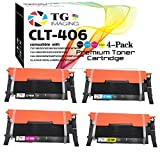 4-Pack TG Imaging Compatible CLT-K406 Toner Cartridge CLT-406S CLT406 Color Set (B+C+Y+M) Work in Samsung CLP-360 CLX-3305 CLP-365 C460FW Printer