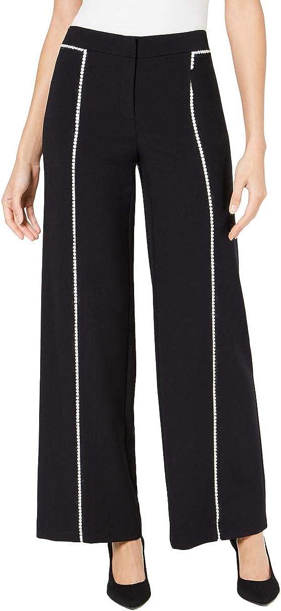 Alfani Womens Crochet Trim Tummy Control Wide Leg Pants, Deep Black, Size 14.0