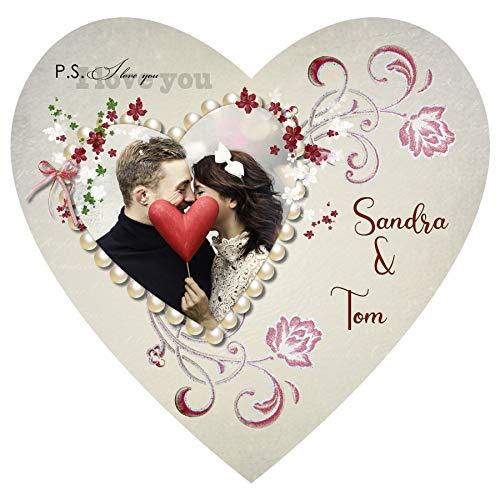 ortenaufleger Tortenbild Hochzeit Herzform Perlen Blumen Wunschtext Foto essbar Ø 20cm 518
