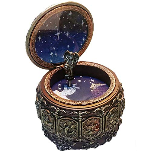 AmaMary Spieldose, Retro buntes Licht Zwölf Konstellationen Resin '' Schloss in der Sky''Music Box Geburtstag Weihnachten Geschenk (Jungfrau)