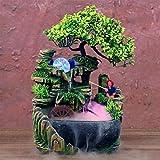 CHENSHUN Decoración casera Creativa de Escritorio Cascada Fuente de meditación Zen Simulación de Resina de rocalla Cascada Estatua Feng Shui Adornos (Color : Led Spray, Size : 220V EU Plug)