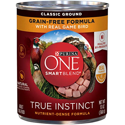 Purina ONE Grain Free, Natural Pate Wet Dog Food, SmartBlend True Instinct With Real Gamebird - (12) 13 oz. Cans