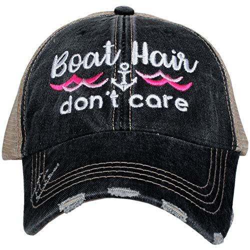 KATYDID Boat Hair Don't Care Baseball Cap - Trucker Hat for Women - Stylish Cute Sun Hat (Black/Pink Waves)