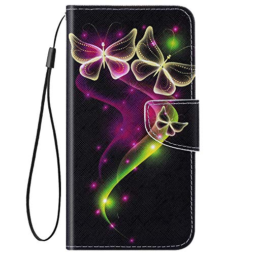 URFEDA Kompatibel mit Xiaomi Redmi Note 8 Hülle Leder Handytasche Brieftasche Schutzhülle mit Bunt Muster Flip Hülle Stand Ständer Kartenfach Magnetverschluss Ledertasche Klapphülle,Schmetterling #2