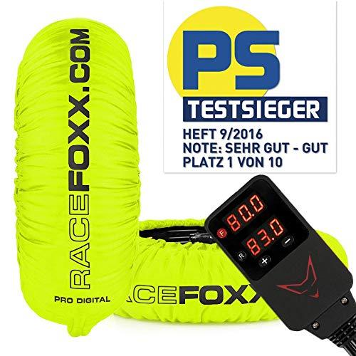 Reifenwärmer Tire Warmers RACEFOXX PRO DIGITAL bis max. 99° C SUPERBIKE, 120/17 vorne und 180 bis 200/17 hinten für Motorradreifen Rennsport Heizdecken neon gelb