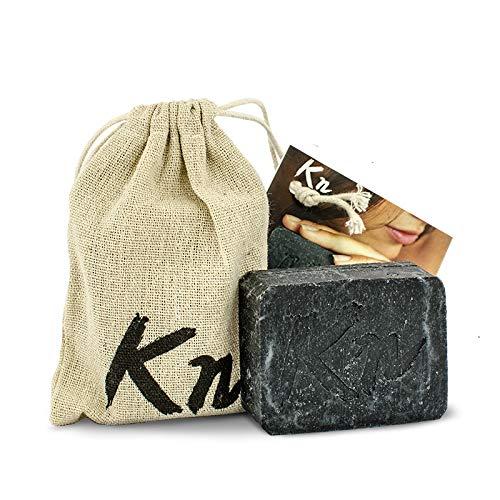 Schwarze Seife, handgemacht, mit Aktivkohle aus Kokosnussschalen, ohne Palmöl, effektiv bei Akne, Mitesser und anderen Hautproblemen, für alle Hauttypen - 100g