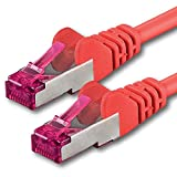 30m - Rojo - 1 Pieza - CAT6a Cat 6a Ethernet LAN Cable de Red - Set 10 GB/s Cable Patch CAT6 S-FTP Doble blindado PIMF 500MHz Libre de halógenos Compatible con CAT5 CAT6a CAT7 CAT8