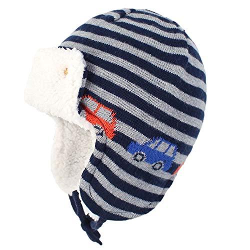 Yixda Unisex Baby Wintermütze mit Ohrenklappen Kinder Trappermütze Ski Hut (Autos, 2-4 Jahre)