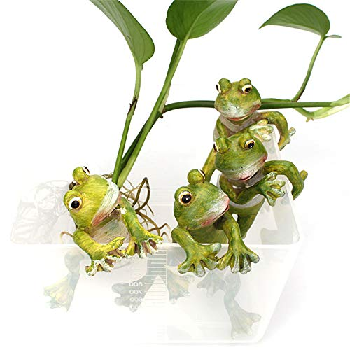 Takefuns 4 Stück Frosche aus Kunstharz, niedliche Cartoon-Frosch, Garten-Statuen, Outdoor-Dekoration, Feengarten-Ornamente, Harz-Frosch-Figuren