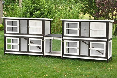 nanook Frederik Doppelstöckiger XXL Kaninchenstall, doppelter Hasenstall mit Verbindungsmodul unendlich erweiterbar - 280 x 50 x 104 cm – braun/weiß