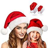 Beetop Erwachsene Weihnachtsmütze + Kinder-Weihnachtsmütze, Weihnachtsmannmütze Nikolausmütze Plüsch Rand Rot Santa Mütze Partymütze aus Plüsch Für Kinder Und Erwachsene