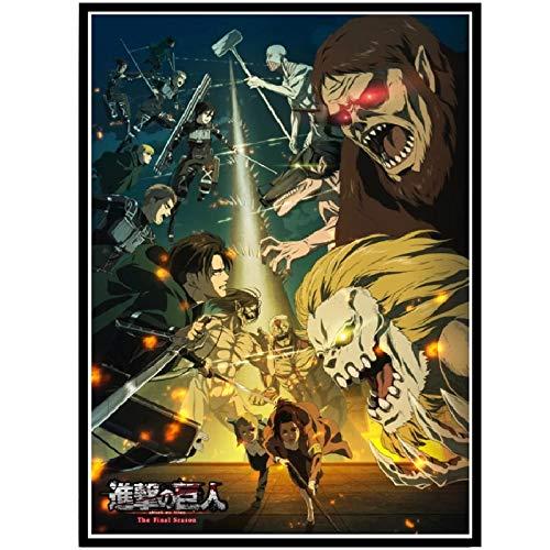 wzgsffs Attack On Titan Final Season Anime Comic Movie Poster Prints Wall Art Print En Lienzo para Sala De Estar Home Bedroom-24X32 Inchx1 Frameless