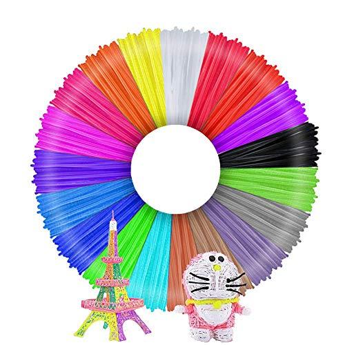 3D Stift Filament, Filament 1.75 Pla, 3D Stifte Glühfaden PLA für 3D Stiften und Druckern 20 Farben Zufällige, je 1,75mm 10M TECHSHARE