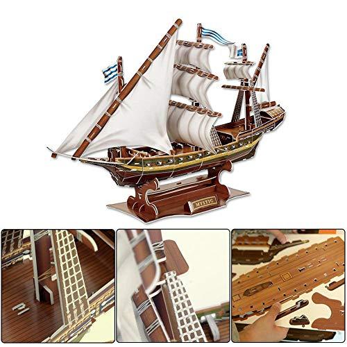 keenso Rompecabezas 3D, Misterioso Barco Pirata Modelo Ensamblado Rompecabezas de Papel 3D Barco de Juguete Niños Regalos para Niños