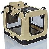PET VIOLET Transportbox Hundebox Faltbar Katzenbox Hunde Tragetasche 62x42x44 cm, Beige