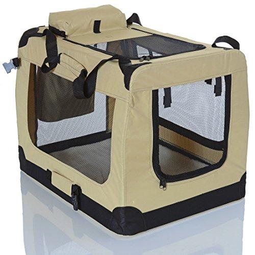 PET VIOLET Transportbox Hundebox Faltbar Katzenbox Hunde Tragetasche 70x52x50 cm, Beige