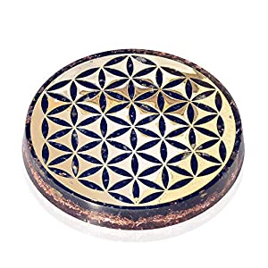 Orgonite Crystal Water Charging Plate with Black Tourmaline Healing Crystals and Flower of Life