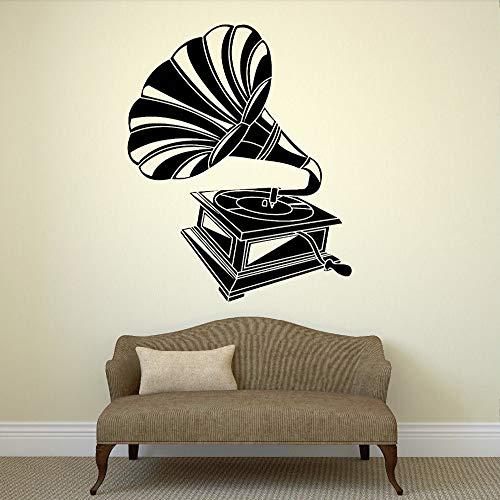 Sticker murale Grammofono soggiorno Vintage Decor Music Art Room rimovibile adesivi murali in vinile Adesivi per camera da letto Design ~ 1 56 * 75cm