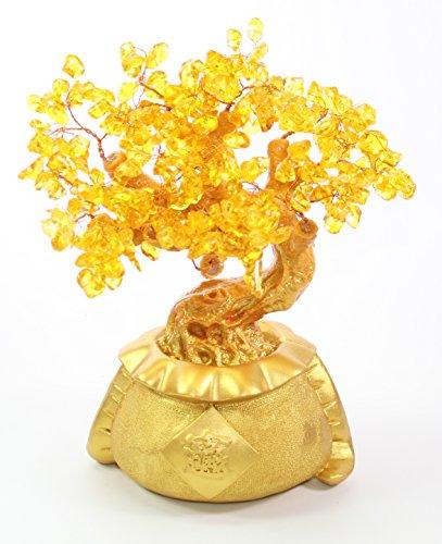 10' Gemstone Quartz Crystal Nature Amber Yellow Gold Stone Jade Money tree Bonsai Style Feng Shui Good Fortune Luck Decor LS02325