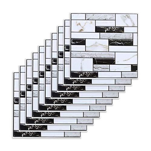 10PCS Carrelage Adhesif Mural Salle de Bain Autocollant Mural en PVC Imperméable Stickers Muraux Cuisine Anti-Poussière Amovible Décoration pour Salle de Bain Cuisine Salon Chambre Bureau (30x30cm)