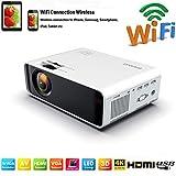 SOTEFEWiFi Vidéoprojecteur-Mini Projecteur Portable 7000 Lumens Full HD 1080P Rétroprojecteur Sans fil Pr iPhone/Samsung/Hauwei Smartphone Haut-parleurs Stéréo Multi-connexion HDMI/USB/VGA/AV/TF Cart