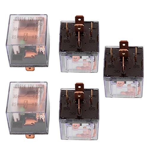uxcell DC 12V 100A 5 Pins SPDT Clear Shell Green Light Alarm Relay 5pcs