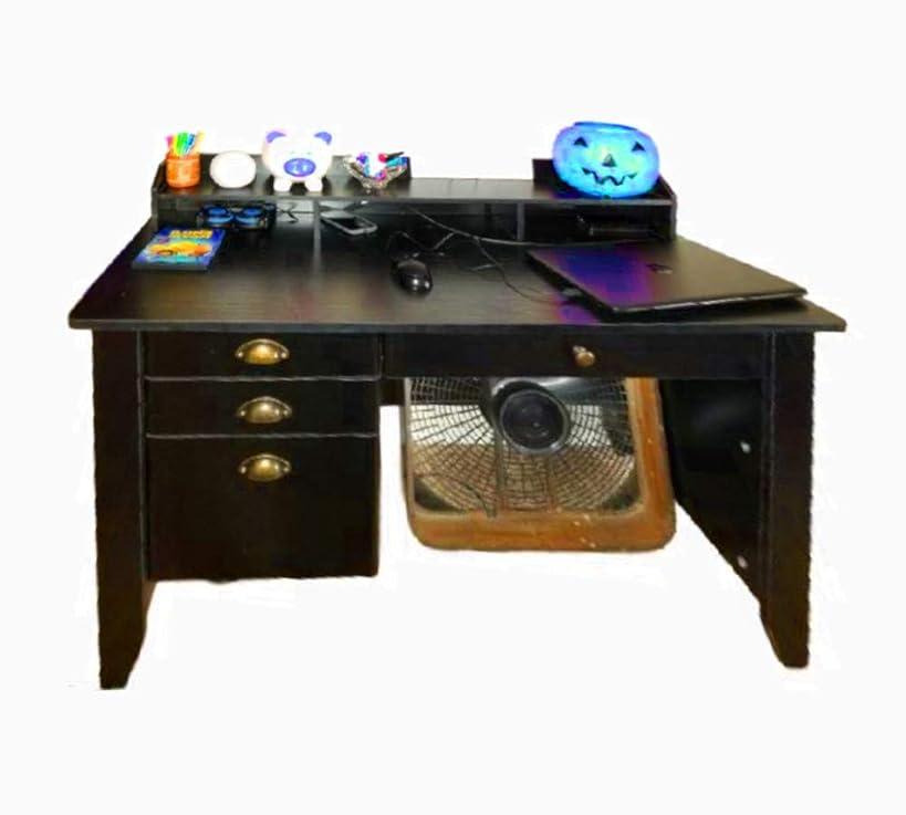Farmhouse Writers Desk Drawer 4 Computer Office Standing Decor Wood Student Shelf Table Gaming Corner Desktop Keyboard Modern Unit & Ebook by AllTim3Shopping.