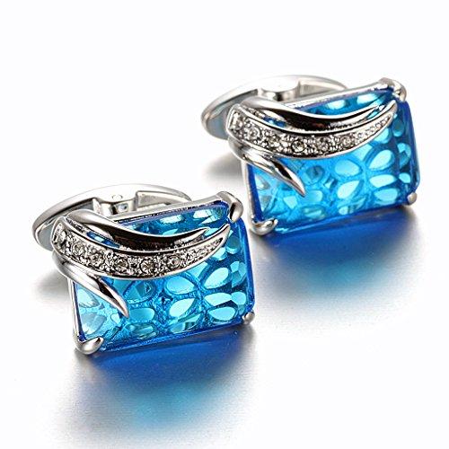 MFYS Jewelry 「ブルー・ハワイ」 ブルー クリスタル カフス(カフスボタン・カフリンクス) 結婚式 プレゼントにも最適 アクセサリー 【カフス専用高級感がある収納ケース付き】
