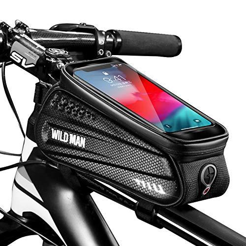 Faireach Borsa Bici Telaio con Supporto per Telefono, Custodia per Cellulare Impermeabile con per Il Ciclo con Finestra Touch Screen, per iPhone Samsung Smart Phone Fino a 6,5